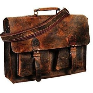 Other - Men's Brown Buffalo Leather Laptop Bag